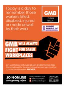 International Workers Memorial Day 2019 Gmb Milton Keynes City